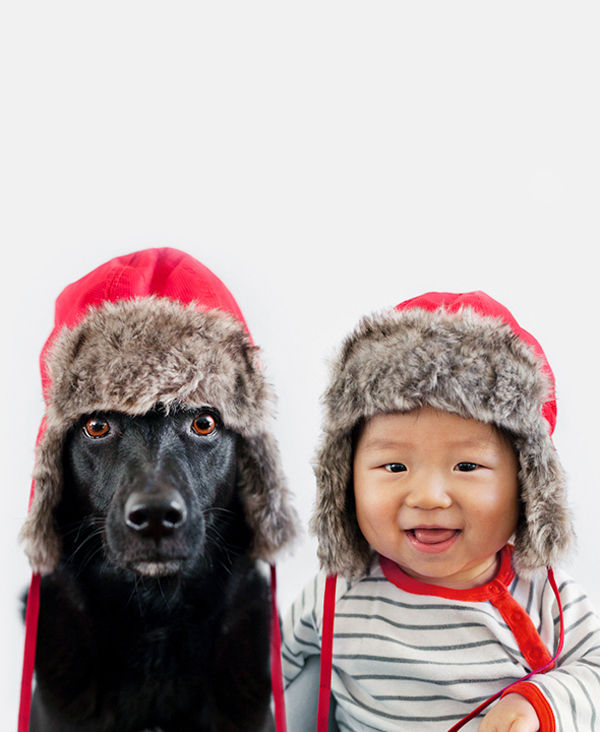 Hat-Sharing Dog-Baby Duos