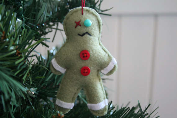 Zombie Gingerbread Man Christmas Ornament