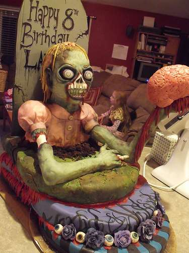 Zombie Girl with Brain Cake