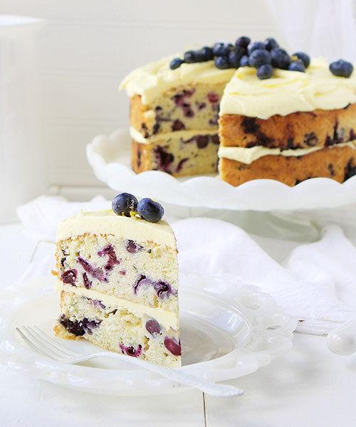 Blueberry Zucchini Cake With Lemon Icing
