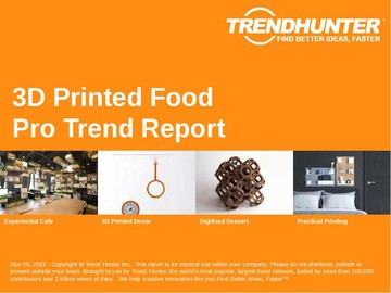 3D Printed Food Trend Report and 3D Printed Food Market Research