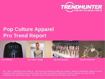 Pop Culture Apparel Trend Report and Pop Culture Apparel Market Research