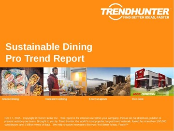 Sustainable Dining Trend Report and Sustainable Dining Market Research