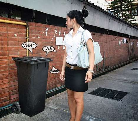 Crying Garbage Can Ad Campaign for Birth Control