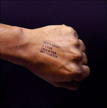 Hand Stamps From Clubs Feature Ads for Cabs