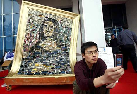 Recycled Art - Mona Lisa Made From Obsolete Motherboards