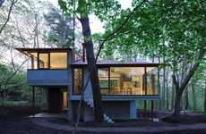 Classy Glass Cabins - The Ultra Modern Villa-K by Cell Space Architects is Tucked in the Forest