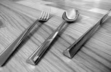 Triangular Flatware - The Harry&Camila Flatty Utensils Won't Slide Out of Place