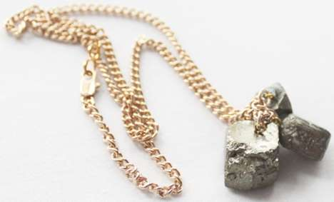 Metallic Rock Jewelry - Kathryn Blackmore's Pyrite Cluster Necklace is Luxuriously Bohemian