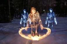 Skeletal Light Paintings - Janne Parviainen Sheds a New Light on Art With His Skeletal Creations