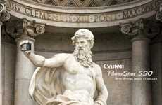 Landmark Statue Self-Snaps - These Canon PowerShot S90 Ads Are Sightseeing-Approved