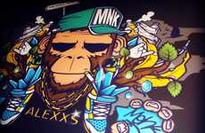Digital Graffiti - These MNK Crew Pieces are an Eclectic Fusion of Digital Imaging and Street Art