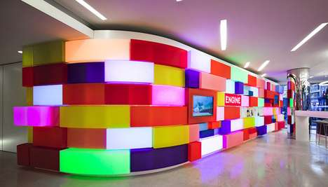 Pulsing Light Walls - Acrylicize's Mosaic Installation Features Color Changing Lights