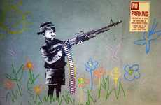 Rifle-Bearing Child Art - This Stencil is the Latest from Banksy in Los Angeles