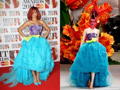 Aqua Floral Frocks - The Rihanna BRIT Awards Christian Dior Gown was Drop Dead Gorgeous