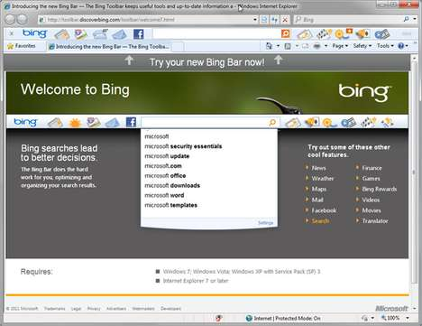 The Microsoft Bing Bar 7 Puts Information at the Forefront