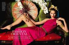 Oriental Orchid Shoots - The Elle Espana Editorial Takes You Away to the Far East