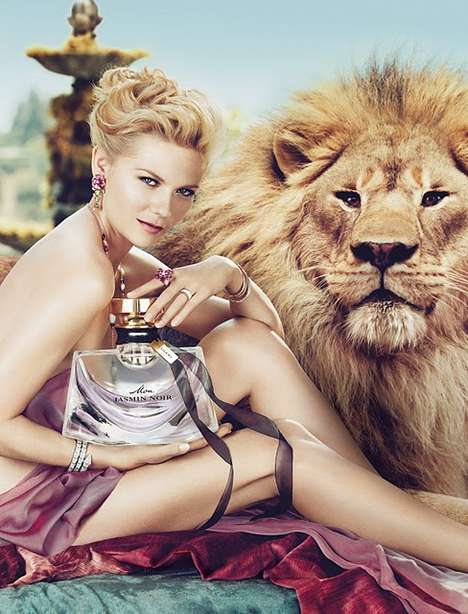 Luxurious Lioness Campaigns - Kirsten Dunst is Red-Hot for the Bulgari Mon Jasmin Noir Print Ads