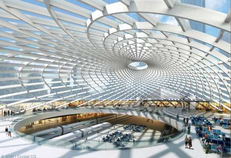 Lavish Lattice Train Stations - Tianjin's High Speed Rail Station is a Transit Cathedral of Light