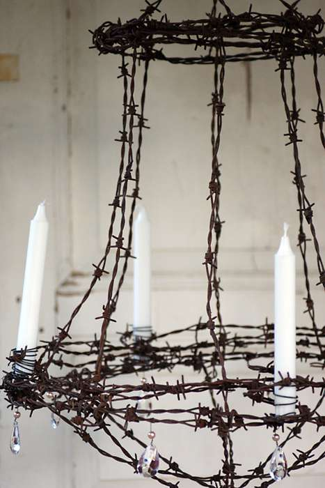 Dangerous Home Decor - The Unconventional Barbed Wire Chandelier by Helena Magnusson