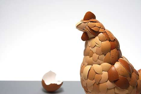 Kyle Bean Crafts a Poultry Statue Out of Eggshells