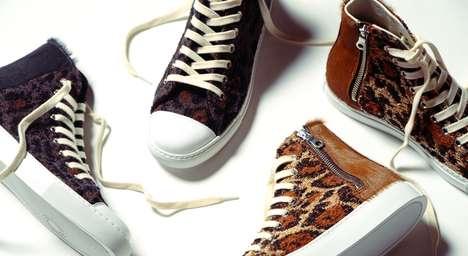 Furry Leopard-Print Footwear