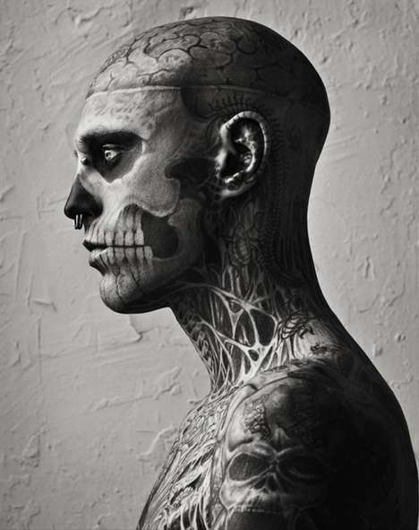 Skeletal Tattooed Editorials - Rick Genest Poses for Vogue Hommes Japan Spring/Summer
