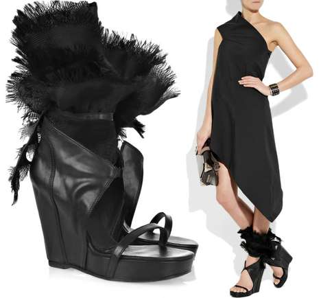 $2,000 Sandals - The Rick Owens Organza Wedges Are Some Seriously Show-Stopping Shoes