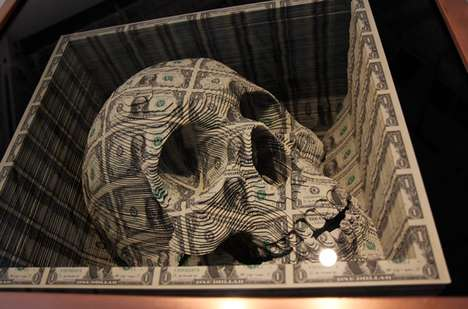 Macabre Money Skulls - Scott Campbell's Noblesse Oblige Features Laser Currency Art