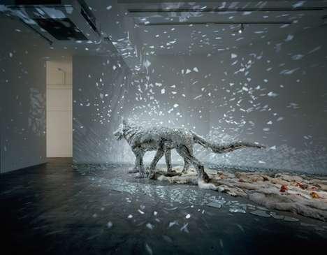 Glistening Wolf Sculptures