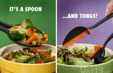 Hybrid Salad Helpers - Vat19 Spoon Tongs Merge the Scoop and the Snatch at Last