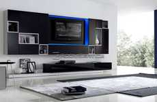LED Home Theatre Systems - The 115 Modern Wall Unit by Milmueble Combines Function and Hi-Tech Style