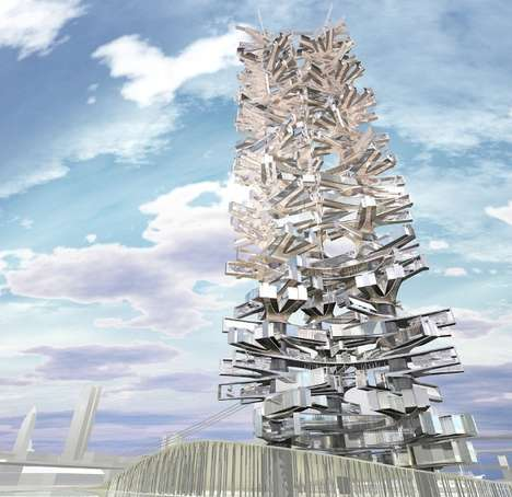 Mirrored Eco Skyscrapers - Bluarch's Entropic Inhabitation is a Mean Green Residential Tower