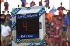 Sporty Condom Campaigns - The Durex Performa Sign Markets to the Crowd During Half Time