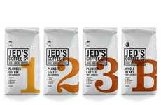 Simplistic Java Packaging - Jed's Coffee Co. has Easily Decipherable Informing Packets