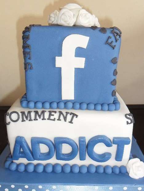 Social Media Wedding Confections - This Layered Facebook Cake Will Draw Your Friends Near