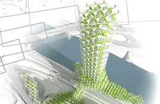 Climbing Honeycomb Agriculture - The Prague Vertical Farm is a Sustainable City Skyscraper