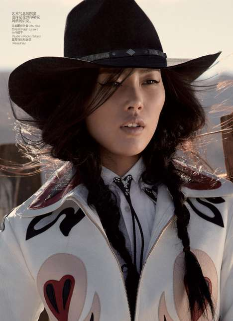 Cultural Fashion Fusion - East Meets the Old West in This Vogue China Editorial