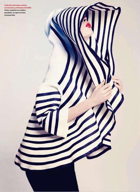 Striped Couture Cocoons - Coco Rocha in Jean-Paul Gaultier for Elle Quebec