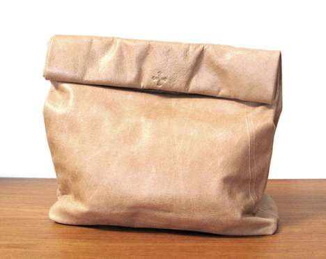Faux Paper Bags - The Picnic Bag in Tan Leather by Marie Turnor Draws on Simplistic Style