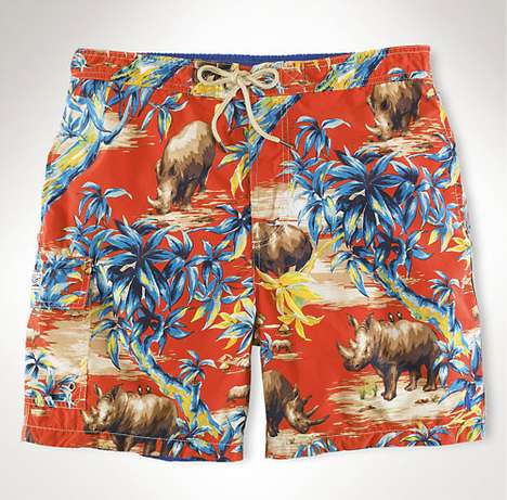 Wildly Colorful Swimwear - Polo Ralph Lauren Tropical Rhino Print Trunks are Anything but Tame