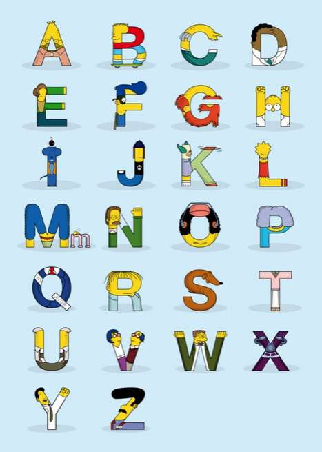Iconic Cartoon Typography - The Simpsons Alphabet by Fabian Gonzales Morphs Popular Characters