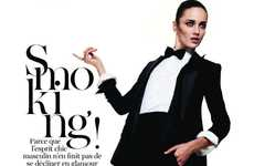 Playful Pantsuit Spreads - Smoking! by Terry Tsiolis Flaunts Black Tie Garb With a Bit of Fun