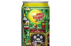 Animated Beverage Branding - Lipton Packaging by Cesar Evangelista Features Chaotic Cartooning