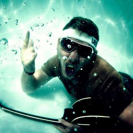 Submerged Bubble Photography - Ilse Moore Captures Francois Rocking a Guitar Underwater