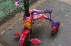 Tightly Knit Tricycles - This Knitted Tricycle Art is Colorful Art on Wheels