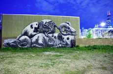 Creepy Critter Graffiti - Street Artist ROA Finishes Two Eerie Animal Pieces in Chicago