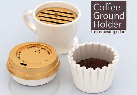 Java Air Fresheners - The Coffee Ground Holder Plays on your Brew's Ability to Expel Odors