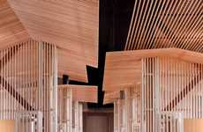 Latticed Lumber Bistros - The Niseko Look Out Cafe Provides a Compelling View Inside