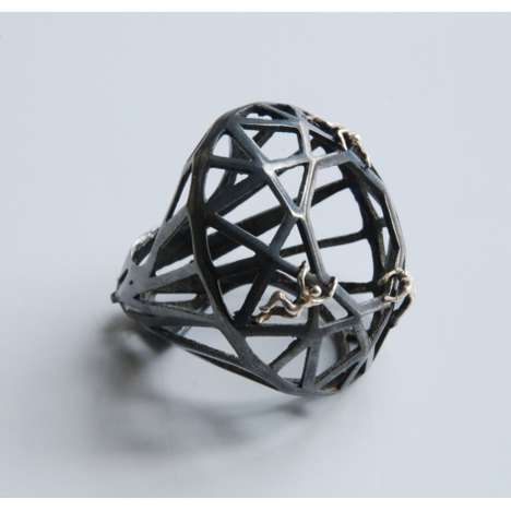 Geometric Diorama Rings - Selda Okutan Designs Jewelry With a Cut-Out Look and Tiny Figures